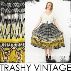 vtg 90s 70s boho hippie ETHNIC TRIBAL print high waist FULL SWEEP maxi skirt M/L $28.00