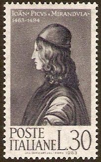 """Italy 1963 Mirandola Anniversary Stamp. Count Giovanni Pico della Mirandola [1463 – 1494) was an Italian Renaissance philosopher. In 1486, at age 23, he proposed to defend 900 theses on religion, philosophy, natural philosophy and magic against all comers, for which he wrote the famous Oration on the Dignity of Man, which has been called the """"Manifesto of the Renaissance"""" and a key text of Renaissance humanism and of what has been called the """"Hermetic Reformation""""."""