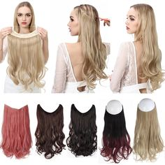No Clip Wave Halo Hair Extensions Ombre Natural Black Blonde Pink 100% Synthetic Save this photo on your board if you ❤️ it. Extensions Ombre, Invisible Hair Extensions, Synthetic Hair Extensions, Clip In Hair Extensions, Beige Highlights, Ombre Look, Blonde With Pink, Halo Hair, Clips