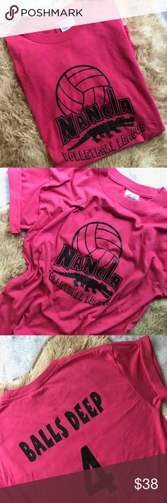 """vintage   pink """"balls deep"""" volleyball shirt BRIGHT PINK """"BALLS DEEP"""" RECREATIONAL VOLLEYBALL TEAM T-SHIRT • size medium • excellent condition; no stains, holes, fading or cracking. • Great shade of pink ---- #volleyball #team #jersey #logo #pink Vintage Shirts Tees - Short Sleeve"""