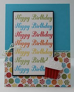 Love the color scheme and consistency in this handmade birthday card.    Stampin' Up! SU by Kari, Teigerlily Designs