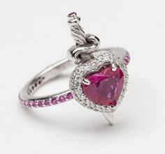18ct White Gold Ruby and Diamond Heart with by MetalCoutureBridal