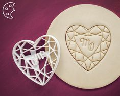 Personalized Heart diamond with initial letters cut cookie cutter, Dishwasher safe, Biscuit and Fondant and Clay cutter, Sharp cutting edges Personalized Heart diamond with initial letters cut cookie Wedding Wallpaper, Wedding Cookies, Sugar Cookies Recipe, Initial Letters, Diamond Heart, Planer, Cookie Cutters, Fondant, Food To Make