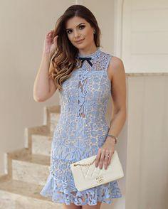{Light Blue } By @desnude Vestido de renda azul com fundo off!