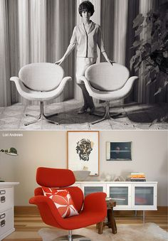 Little Tulip Chair –  History: designed by Pierre Paulin in 1965 which was a spinoff of the big Tulip chair. Its back and arms open up like a flower blooming away from the seat