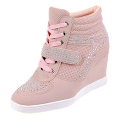 9acbdb1af42 Dames wedge sneakers met sleehak en strass - roze - Goedkope schoenen  bestellen? Cowboy laarsjes