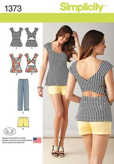 Simplicity Creative Group - Misses' Slim Pants, Shorts Tops ~ the top is cute, like an apron or pinafore top Sewing Clothes Women, Diy Clothing, Clothing Patterns, Dress Patterns, Clothes For Women, Sewing Blouses, Sewing Shorts, Simplicity Sewing Patterns, Slim Pants