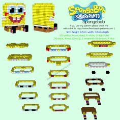 3D perler hama beads Spongebob Squarepants free pattern