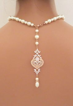 Bridal Backdrop necklace Rose gold Back drop by treasures570