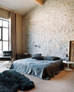 Modern Bedroom with Brick Wall Design