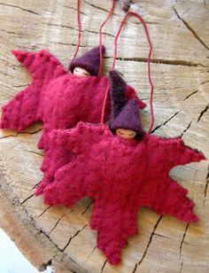 Maple Leaf Ornaments, Waldorf Fall Decor, Waldorf Autumn Decor, Gnome Baby, Waldorf Gnome
