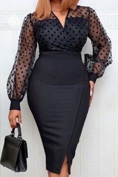 Polka Dot Bodycon Dresses, Black Polka Dot Dress, Black Bodycon Dress, Polka Dots, African Fashion Dresses, African Dress, Fashion Outfits, Style Fashion, Fashion Beauty