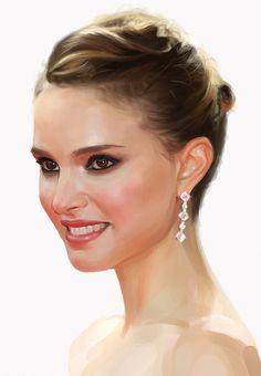 """Natalie Portman"" - Hossein Sadjadi, Photoshop, 2012 {figurative realism art beautiful female celebrity actress woman face portrait cropped digital painting} sahabiha.deviantART.com"