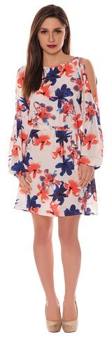 Alison Red Blue Large Floral Crepe Box Style Cut Out Cold Shoulder Belted Shift Dress