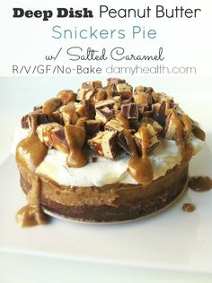 OH MY!!!!  Can someone make this and save me a bite please?! Raw Vegan No-Bake Deep Dish Peanut Butter Snickers Pie w/ Salted Caramel | Amy Layne Paradigm Blog