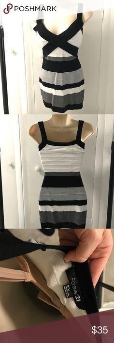 Bandaux dress Black gray and white short  dress Dresses Mini
