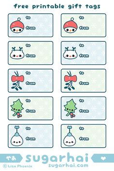 Super cute free printable gift tags with kawaii snowman, reindeer, mistletoe, holly leaf, and happy ornament.