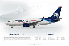 Boeing 737-700 AeroMexico XA-GOL | www.aviaposter.com | Civil aircraft art print | #scetch #art #airliners #aviation #aviaposter #jetliner