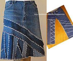 Recicle a partir de calça jeans. Faça uma bela saia. O corte da calça tem que ser feito com algum cuidado para que o resultado seja o desejado, por isso pr