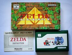 Box, instructions and console of Zelda version of Game & Watch, Classic Video Games, Game & Watch, Retro Vintage, Nintendo, Zelda, 1980s, Console, Gaming, Amp