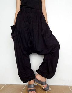 ♥♥You can wear these versatile pants on any occasion. The fabric is soft, lightweight and comfortable. These cotton jersey blend pants feature an elastic waistband and low drop crotch design. They also have side seam pockets added for a bit of flair. Perfect for Yoga, or lounging about