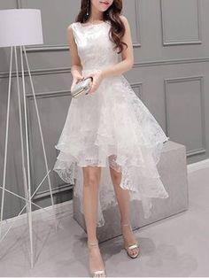 A chicloth women's elegant solid sleeveless high low organza dress mez Elegant Dresses, Cute Dresses, Beautiful Dresses, Casual Dresses, Fashion Dresses, Formal Dresses, Teen Dresses, Midi Dresses, Organza Dress