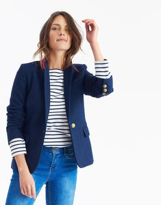 Horatia Navy Tweed Fitted Tweed Blazer | Joules UK Joules Uk, Tweed Blazer, My Outfit, Navy, Fitness, Sweaters, Jackets, Clothes, Fashion