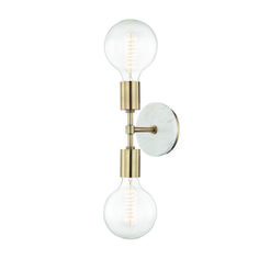 An incredibly simple design gets a sophisticated upgrade in this refined sconce. A minimalist body and sockets in Aged Brass or Polished Nickel are accented by the addition of a White marble backplate, giving this modern fixture a timeless elegance.