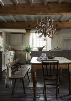 A country kitchen isn't complete without antique and reclaimed finds which will instantly add character to the space and give it that lived-in feel that so many of us crave in a cottage kitchen. Traditional Kitchen Design, Cottage Kitchens, Rustic Kitchen, Kitchen Remodel, Kitchen Design, Rustic House, Sweet Home, Kitchen Inspirations, Country Kitchen Designs