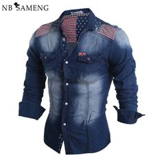 Cheap denim shirt, Buy Quality denim shirts style directly from China brand  shirt Suppliers  KUEZLE style men long sleeves casual retro suture slim  denim ... 7ebbc33844