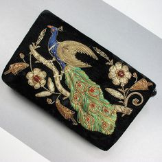 Vintage Clutch Purse Metalic Thread Embroidered Gold Blue