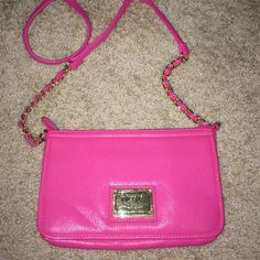 🎀SALE🎀Hot Pink Cross Body Only carried once! Great for a night out! Measures: length 8.5 inches X width 1inch X height 5.5inches. Nicole by Nicole Miller Bags Crossbody Bags