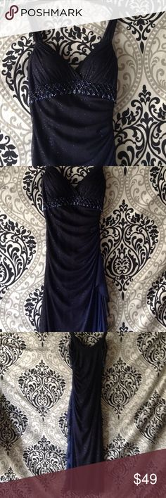Juniors formal  BETSY and ADAM Gorgeous glittering  draped formal side zipper Betsy and Adam Dresses Maxi