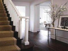 wood stairs, white railing + runner