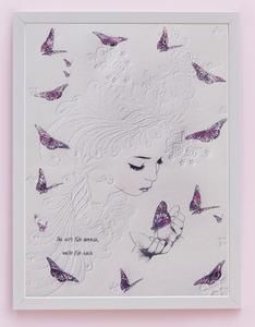 Fine art print One Sonny Day. Australian kids and children's art. Soft pink flower crown, lilac floral headdress, delicate antique lace embossing, pink purple butterflies, embossed headdress. Perfect for wall art, little girls bedroom deco, children kids gifts, christening, baby shower, christmas present. Watercolour, painting, quote
