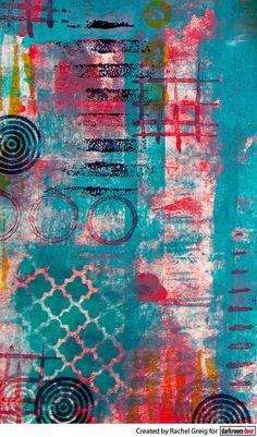 Art journal background by Rachel Greig using Darkroom Door Grunge Marks Rubber Stamps