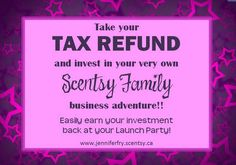 Tax Returns are upon us! Before you go and spend your refund on that new Spring outfit, think about investing in your financial future! It may just lead to a new outfit every month and much MORE!  For only $119 CAD (+ shipping and taxes) you can start your own Scentsy business and have all of the tools that you need to reach your goals! You can recover this cost of enrolling with just ONE party and I can help you achieve that goal!  Join me today at… Tax Refund, Launch Party, Scentsy, New Outfits, Investing, Goals, Marketing, Future, My Love