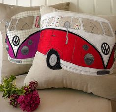 Camper van cushion by Lara Sparks Embroidery Volkswagen Bus, Vw Camper, Camper Cushions, Pin Cushions, Combi Ww, Sewing Crafts, Sewing Projects, Sewing Pillows, Patchwork Quilting