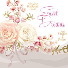 Watercolour Wedding Clipart Flowers Bouquets by WatercolorSeasons