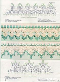 Check out the diagrams and learn to make more than 150 points, (crochet edgings) with images. There are several crochet borders that can be applied in various crochet projects. Crochet Boarders, Crochet Lace Edging, Crochet Motifs, Crochet Diagram, Crochet Chart, Crochet Squares, Crochet Trim, Bead Crochet, Filet Crochet