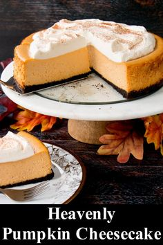 Best Pumpkin Cheesecake Recipe – Little Sweet Baker This pumpkin cheesecake is packed with fall flavors, rich in taste, and creamy-dreamy good. It's an excellent make-ahead dessert that takes very little effort to prepare, yet it's stunning to serve. Thanksgiving Desserts, Fall Desserts, Dessert Recipes, Baker Recipes, Cookbook Recipes, Cooking Recipes, Best Pumpkin Cheesecake Recipe, Pumpkin Recipes, Cheesecake Desserts