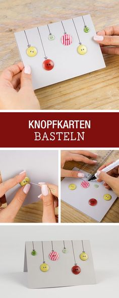 Weihnachtskarten selbermachen: Alte Knöpfe für selbstgemachte Weihnachtskarten nutzen / christmas diy: use buttons for crafting christmas cards via DaWanda.com