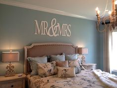 Large Mr&Mrs Bedroom Decor / Wall Hanging by 3SweetsGirlS on Etsy, $95.00. IN LOVE WITH THIS.