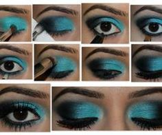 step by step to doing a black and blue smokey eye