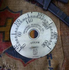 """Large Antique Steam Pressure Gauge Face - Original  8 & 1/2 """"  Vintage Etched Brass Dial"""