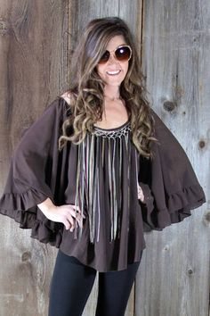 The Sonia | Wild Bleu, Fringed Oversize Brown Off Shoulder Top with Ruffled Trim by Basically Me