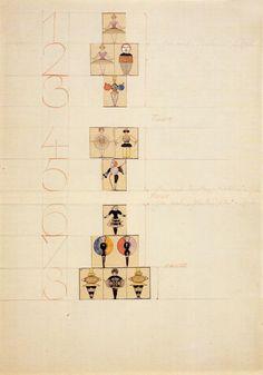Figurenplan für das Triadische Ballett, Blatt 2 aus dem Regieheft für Hermann Schergen, Autor: Oskar Schlemmer, 1927. Bauhaus-Archiv Berlin / © gemeinfrei.