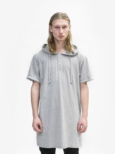 Profound Aesthetic Basic Elongated Hooded Henley Kurta in Heather Gray | profoundco.com