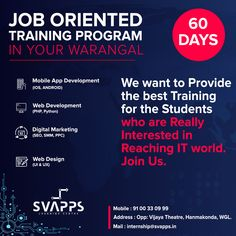 SVAPPS is a high-quality Software Training Institute in Warangal, Hanamkonda, Kazipet at an affordable price. Learning Centers, Training Programs, App Development, Mobile App, Digital Marketing, Software, Web Design, Profile