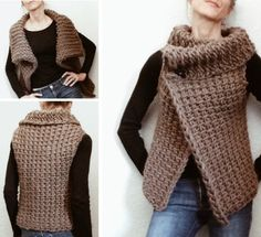 Tunisian Crochet Crochet Tunisian Vest - You will love this Crochet Peekaboo Button Wrap Video and it's an easy free pattern. It will become a new favourite in your wardrobe. Gilet Crochet, Crochet Vest Pattern, Crochet Jacket, Tunisian Crochet, Afghan Crochet Patterns, Crochet Cardigan, Crochet Shawl, Knitting Patterns Free, Easy Crochet